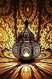 Marrakesch Orient & Mediterran Interior Lanterna portacandele Orientale in Metallo - Portacandele per Giardino - Lamis Nero - trasmettere Una buona Atmosfera - Passare Un Buon Momento in Giardino