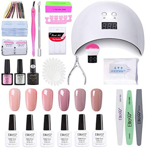 Elite99 Smalto Semipermanente per unghie Kit di Partenza in 6 coloris Gel 24 W LED Lampada UV Nail Dryer Soak Off Topcoat Basecoat Nail Art Tool Set di Adesivi per Manicure Set per Manicure 10ML C006