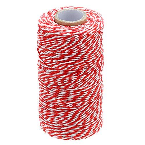 G2PLUS Lot 300 Pieds Craft Ficelle de jardin Filetage durable étiquettes étiquettes de cravate Cordes Bobine pour DIY Artisanat Arts et fait à la main, Red and White Cotton