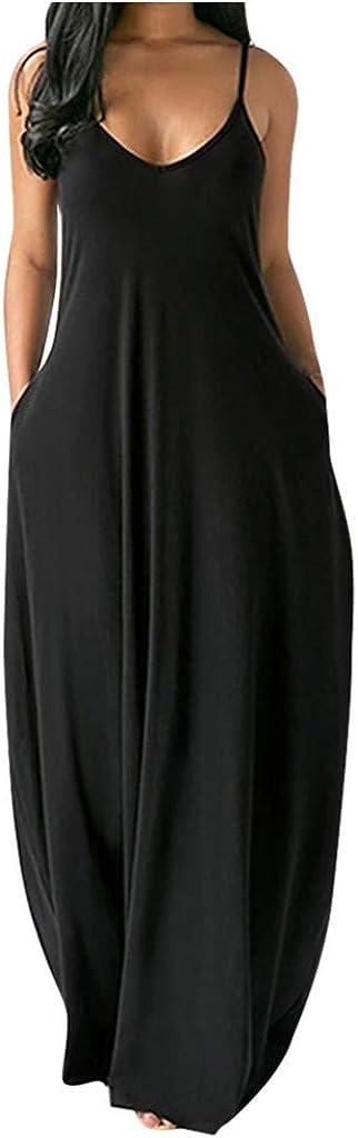 Women's Summer Casual Sleeveless Strappy V Neck Maxi Dress Criss Cross Cami Beach Dress Asymmetrical Beach Sundress