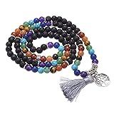 Jovivi 6mm 108 Perlen Mala Kette 7 Chakra Edelstein Buddha Armband Wickelarmband mit Lebensbaum Anhänger Energietherapie Yoga Halskette Gebetskette/Lavastein
