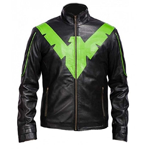 Bestzo Men's Fashion Nightwing Grayson Leather Jacket Cow Leather Black 4XL