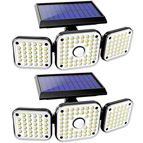 Solar Lights Outdoor, 112 LED 3 Heads Security Solar Flood Lights Outdoor Motion Sensor 360° Rotatable IP65 Waterproof, 270° Wide Angle Illumination Motion Lights for Porch Garage Entryways- 2PCS