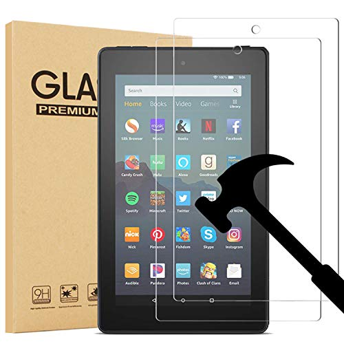 [2-Pack] EpicGadget Glass Screen Protector for All-New Fire 7 / Fire 7 Kids Edition Tablet (9th/7th Gen, 2019/2017 Release) - Tempered Glass Film/High Definition / 9H Hardness
