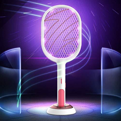 NONE Raqueta Zapper de Insectos Matamoscas Eléctrico Recargable con Malla de Seguridad de 3 Capas Luces Led Zap en La Oscuridad Raqueta Antimosquitos de Mano Táctil Segura para Interiores Y Exteriores