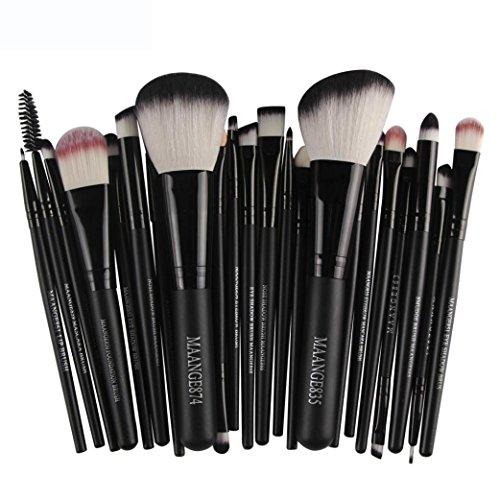 Internet 22 Pièces Outils Laine Maquillage Ensemble de Brosses Trousse de Pinceaux Maquillage (Noir #2)