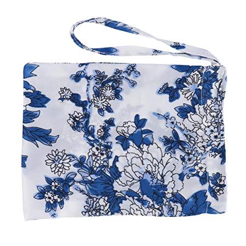 ULTECHNOVO Bolsas de Regalo de Satén con Cordón Flor Azul Y Blanca Bolsas de Joyería de Seda Bolsas de Almacenamiento de Favor Reutilizables para Collar de Pulsera de Cuentas de Buda