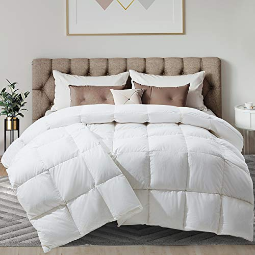 White Feather Down Comforter Goose Duck Down Comforter 100% Cotton Quilted Down Comforter with Corner Tabs All-Season Machine Washable-Queen (90x90 Inch)
