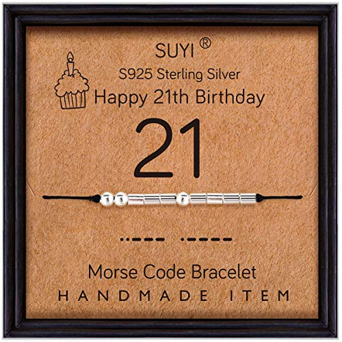 Suyi 21st Birthday Gifts for Her Morse Code Bracelet Sterling Silver Bracelet Birthday Jewelry 21 Year Old Gifts for Her 21