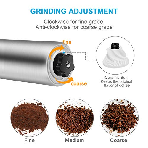 Manual Coffee Grinder - Hand Grinder Coffee Mill, Conical Ceramic Burr Mill for Precision Brewing Stainless Steel for Office, Home, Traveling, Camping