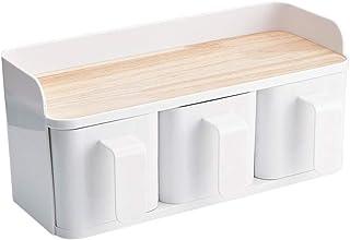 SCDZS Pot à épices, Assaisonnement boîte, bouteille Assaisonnement blanc cuisine de rangement en plastique, boîte de range...