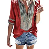 Sunhusing Women's Deep V-Neck Bohemian Print Half Sleeve Tops Casual Beach Wind T-Shirt (L, Red)