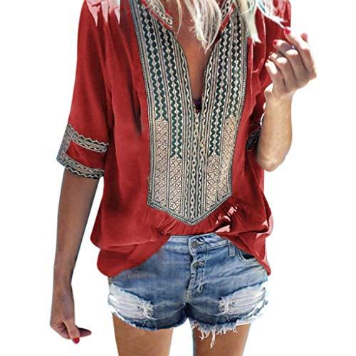 Sunhusing Women's Deep V-Neck Bohemian Print Half Sleeve Tops Casual Beach Wind T-Shirt (3XL, Red)