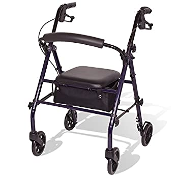 Carex Steel Rollator Walker with Seat and Wheels - Rolling Walker for Seniors - Walker Supports 350lbs Foldable For Those 5 0  to 6 1