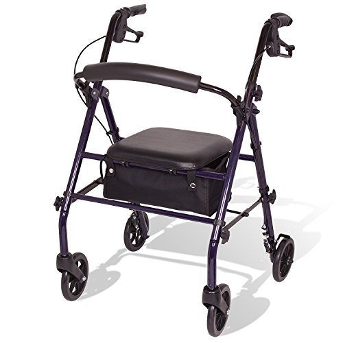 """Carex Steel Rollator Walker with Seat and Wheels - Rolling Walker for Seniors - Walker Supports 350lbs, Foldable, For Those 5'0"""" to 6'1"""""""