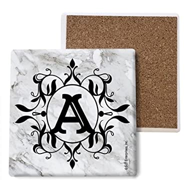 (SJT96806) Initial / Letter Marble texture Coasters -  A  Absorbent Stone Coasters, 4-inch (4-pack)