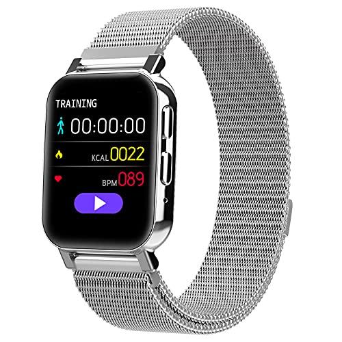 QFSLR Smartwatch Fitness Tracker con Monitor De Frecuencia Cardíaca Llamada Bluetooth Monitor De Presión Arterial Monitoreo De Oxígeno En Sangre para Hombres Y Mujeres para Android iOS,Plata