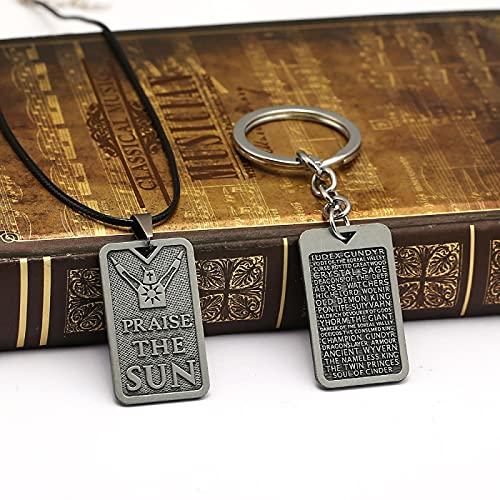 MINTUAN 2 uds Dark Souls Praise The Sun Llavero con Etiqueta de Perro Llavero Mujeres Hombres Juego Accesorios joyería