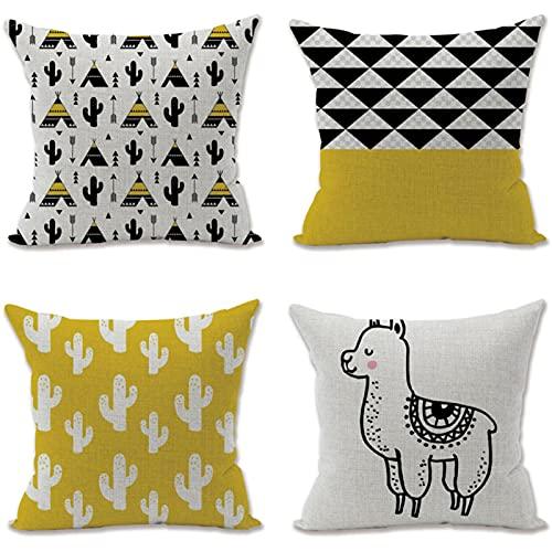 KaiXINSun Throw Pillow Cases Paquete De 4 Funda De Almohada De 18X18 Pulgadas Funda De Sofá Decorativa De Casa Cuadrada Cremallera Invisible 45X45Cm Patrón De Cactus De Alpaca