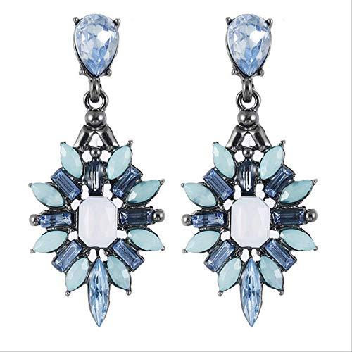 Oorbel bengelen vrouwen strass oorbellen hars kristal blauw zoet metaal met edelstenen oor oorbellen voor vrouwene0369blue