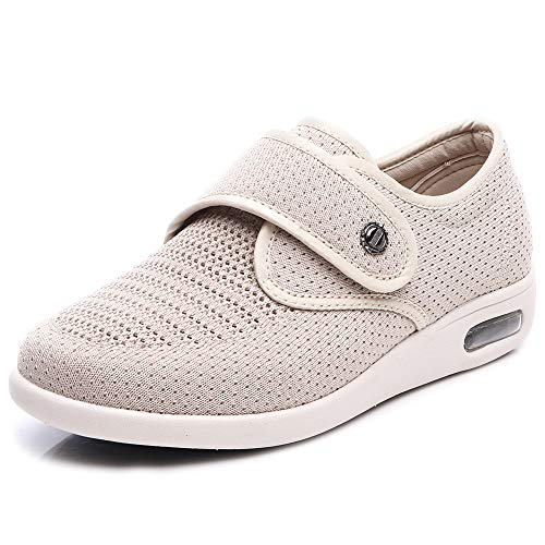 W&Le-Slippers Womens Wide Width Walking Shoes, Lightweight Air Cushion Sneakers Easy On and Off for Elderly(8, Mesh Beige)