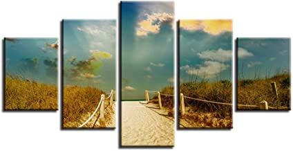 Canvas painting five pictures FYSKJDG , Home Decor Canvas Hd Prints Pictures Beach Path Trail Mood Sea Ocean Paintings Sky Clouds Nature Poster Wall Art(No Frame) 10x15CMX2 10x20CMX2 10x25cm