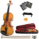 Mendini MV400 Ebony Fitted Solid Wood Violin with Hard Case, Shoulder Rest, Bow, Rosin, Extra Bridge and Strings - Size 4/4, (Full Size)