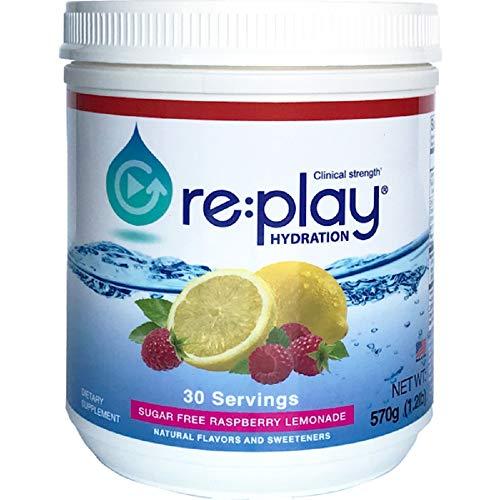 Hydration Health Products Re:Play hidratación recuperación Bebida en Polvo, sin azúcar Frambuesa Limonada – 570 Gramos Tina, 30 porciones