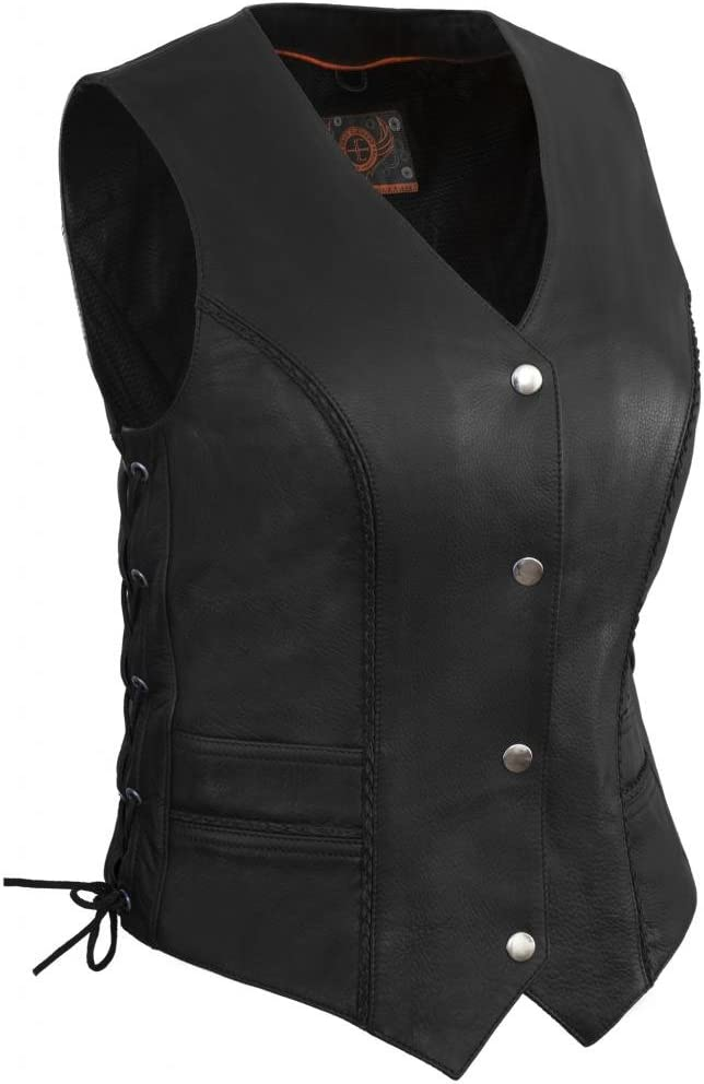 True Element Womens Braided Motorcycle Leather With ご予約品 Vest La 供え Side
