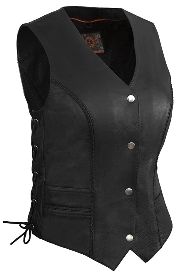 True Element Womens Braided Motorcycle Leather Vest With Side Laces (Black, Size L)