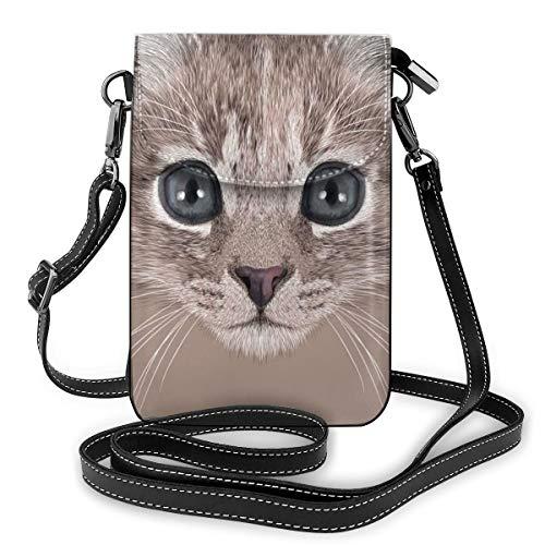 Jiger Women Small Cell Phone Purse Crossbody,Portrait Of Domestic Cat Cute Face Baby Kitten Pet Whiskers Fluffy Feline