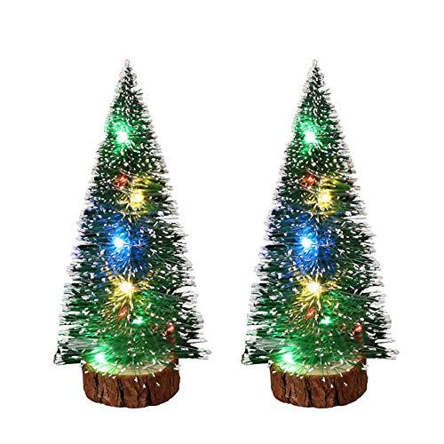 2 árboles de Navidad de mesa de pino con cadena de luces LED multicolores, mini árbol de nieve artificial de sisal para decoración de mesa de invierno del hogar y la oficina (30 cm)