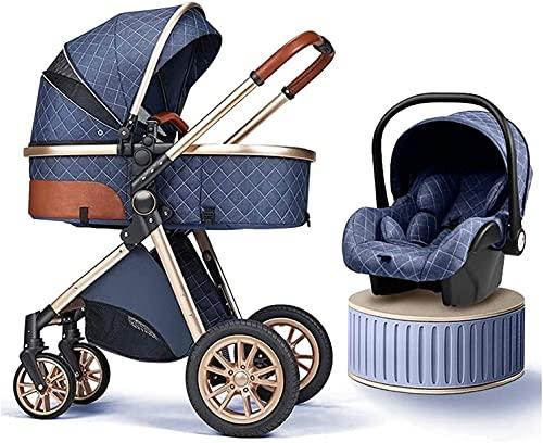 Cochecito combinado , Cochecito de bebé, sistema de viaje de 3 en 1 con asiento para bebés Buggy plegable ligero (aceptación 55 lb) PrAM de ventilación con posición de mentira, ruedas con llave y capu