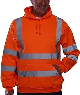 SOMESHINE Mens Zip Up Fleece Hoody Hooded Hi Viz Visibility Sweatshirt Safety Security Work Jumper Top