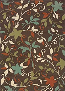 """Moretti Wordhaven Area Rug 967X6 Brown Vines Flowers 1' 9"""" x 3' 9"""" Rectangle"""