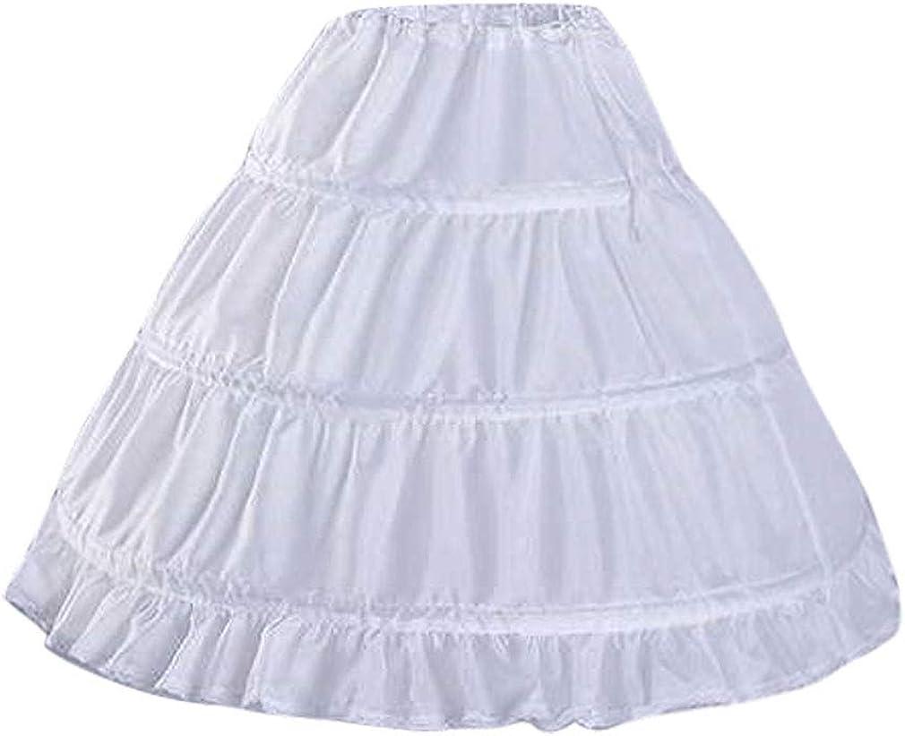 CEZOM Girls' 3 Hoops Petticoat Full Slip Flower Girl Crinoline Underskirt MPT127