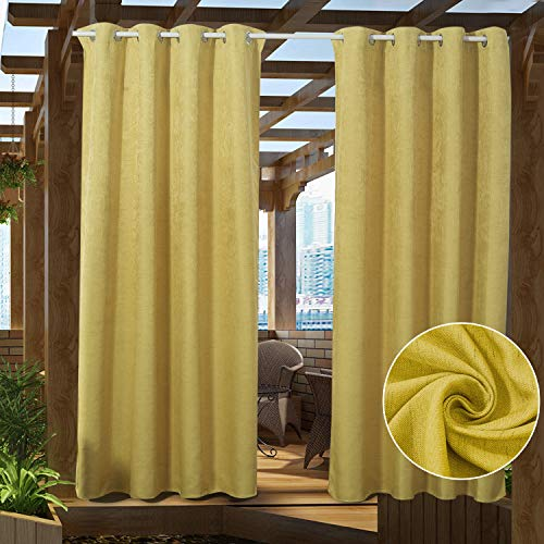 PRAVIVE Patio Blackout Outdoor Curtains - Heavy-Duty Eyelet Top Thermal Insulated Indoor Outdoor Drape Panels for Front Porch Decor / Gazebo Shade / Pergola Privacy, 52' W x 95' L, Yellow, 1 Panel