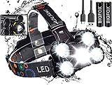BIGFOX - Linterna frontal con zoom de 2000 lm, 4 modos, lámpara frontal de 2600...