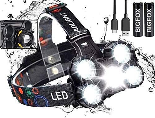 BIGFOX - Linterna frontal con zoom de 2000 lm, 4 modos, lámpara frontal de 2600 mAh, USB recargable, linterna de cabeza impermeable, esquinas ajustables para camping, correr, pesca, ciclismo
