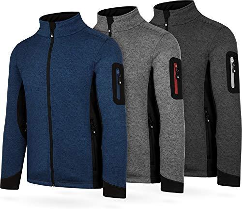 normani Herren Strick-Fleecejacke Strickjacke Cardigan mit Stehkragen und Seitentaschen Outdoor Sweatshirt Farbe Navy Größe L