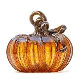 Luke Adams Glass | 5' Squat Glass Pumpkin | Handmade Table Top Home Décor | Outdoor Collectible Sculpture (Harvest Gold)