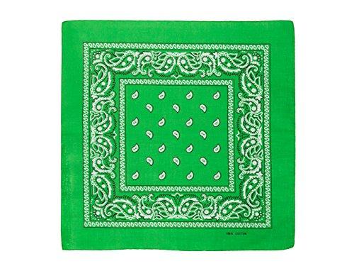 shenky 12er Pack Bandana Kopftuch Bikertuch Halstuch Paisley Muster Hunde Tuch Tücher schwarz apfelgrün rot weiß 100% Baumwolle (Apfel grün)