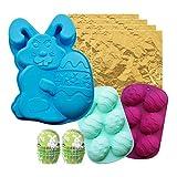 3D Pascua Huevo Conejo Forma Chocolate Silicona Conjunto De Molde, Bunny Bakeware Decoración Kit De Molde Para Pastel Jelly Pudding Candy, Azúcar Easter Artesanía,B