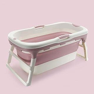 熱い大人の折りたたみプラスチックベビーバスプールの子供の家庭大型バレルポータブルワールプール、入浴家庭プラスチックポータブルSPAアンチスリップバスルームキューブ (色 : ピンク, Size : Without cover)
