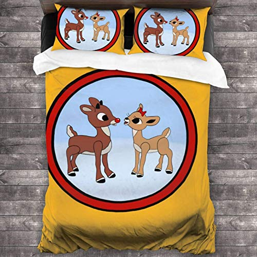Rudolph The Red-Nosed Reindeer & Clarice 3 Piece Bedding Set 86'X70' Super Soft Polyester Bed Set Bedroom Comforters