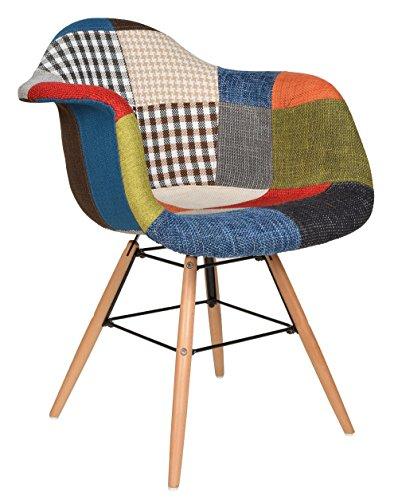 ts-ideen 2er Set Design Patchwork Sessel Wohnzimmer Büro Stuhl Esszimmer Sitz Holz Stoff bunt