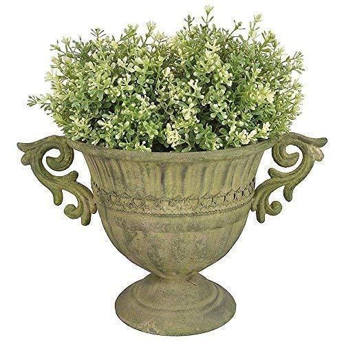 linoows Pflanzgefäß, Amphore, Blumen Kelch, im Barockstil, Pflanzen-Topf, Metall