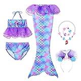 vamei Coda da Sirena Bambina Costume da Bagno Bikini 6 Pezzi Costume da Bagno Bikini nuotabile con Braccialetti con Collana a Fascia a Sirena (Viola, 130)