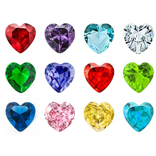 JewelryHouse 12pcs Heart Birthstones Floating Charms For Glass Living Memory Lockets Necklace