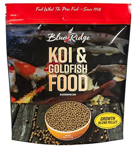 Blue Ridge Fish Food Pellets [5lb] Koi and Goldfish Growth Formula Blend, Mini and Large Floating Pellet, Balanced Diet